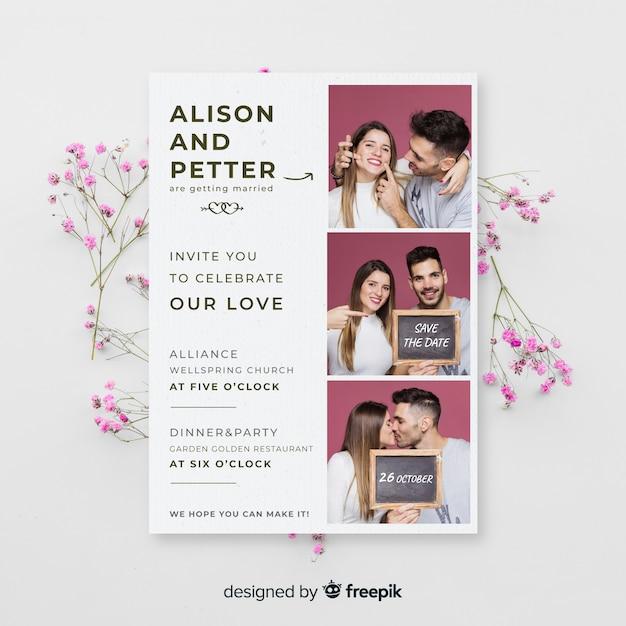 Photo booth bruiloft uitnodiging sjabloon Gratis Vector