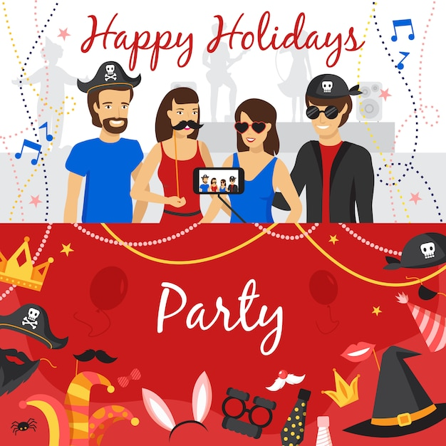 Photo booth party banners set Gratis Vector