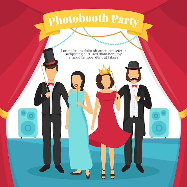 Photo booth party met mensen toneelmuziek en gordijnen Gratis Vector