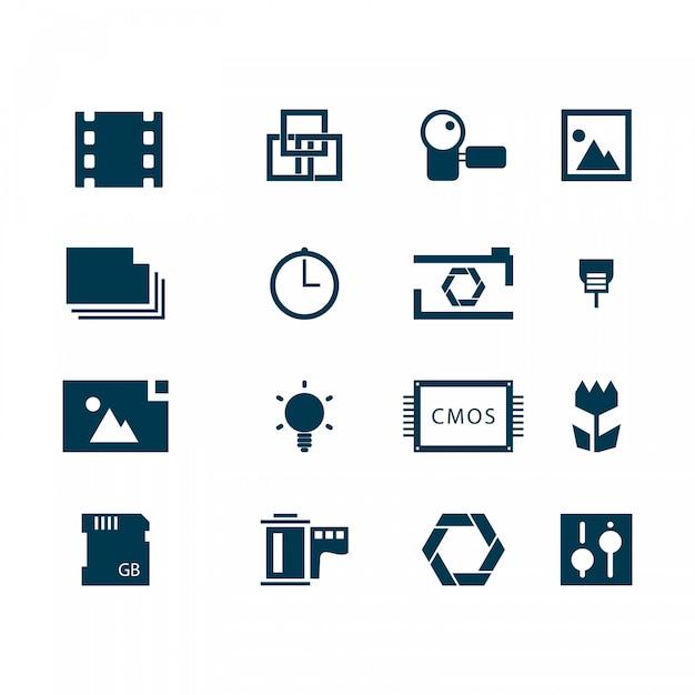 Photography pictogrammen vector logo templates Gratis Vector