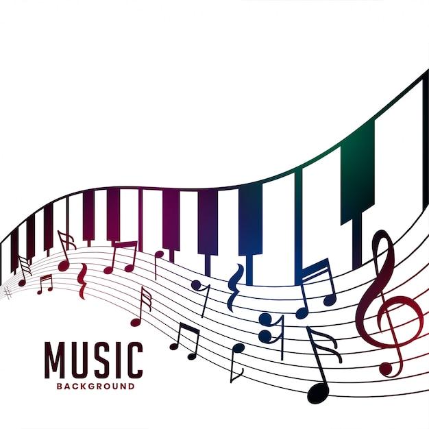 Piano en muzieknoten akkoordachtergrond Gratis Vector