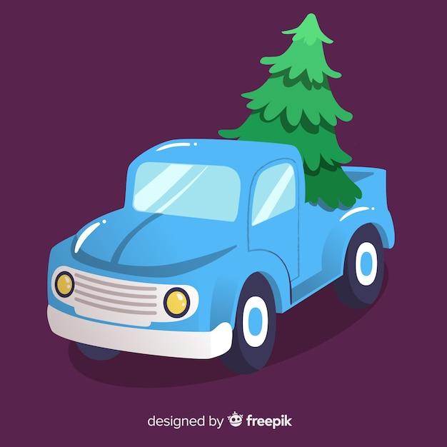 Pick-up truck met kerstboom Gratis Vector