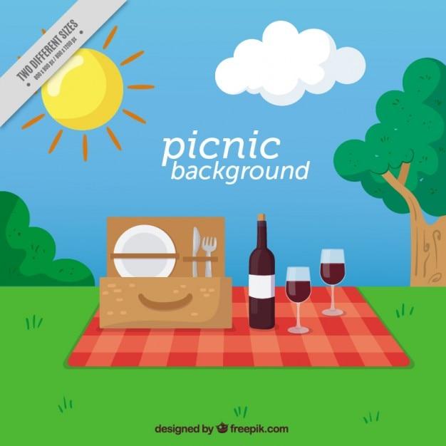 Picknick achtergrond in een landelijke Gratis Vector