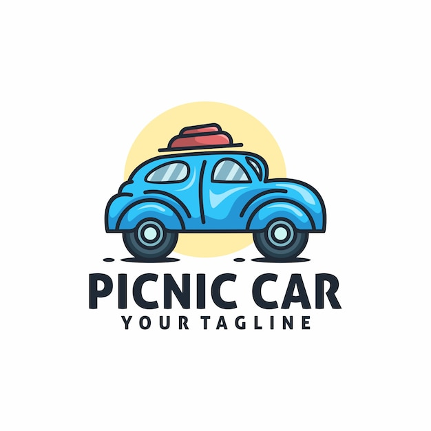 Picknick auto logo sjabloon vector Premium Vector