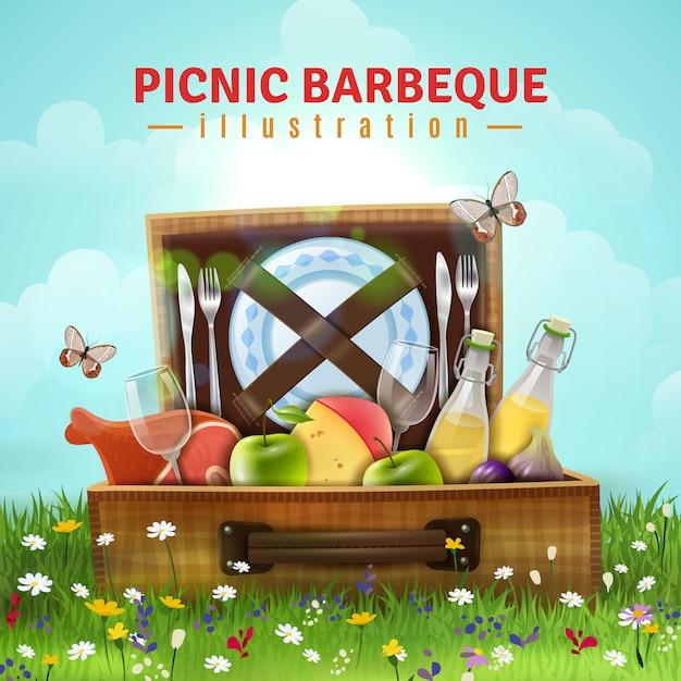 Picknick barbecue illustratie Gratis Vector