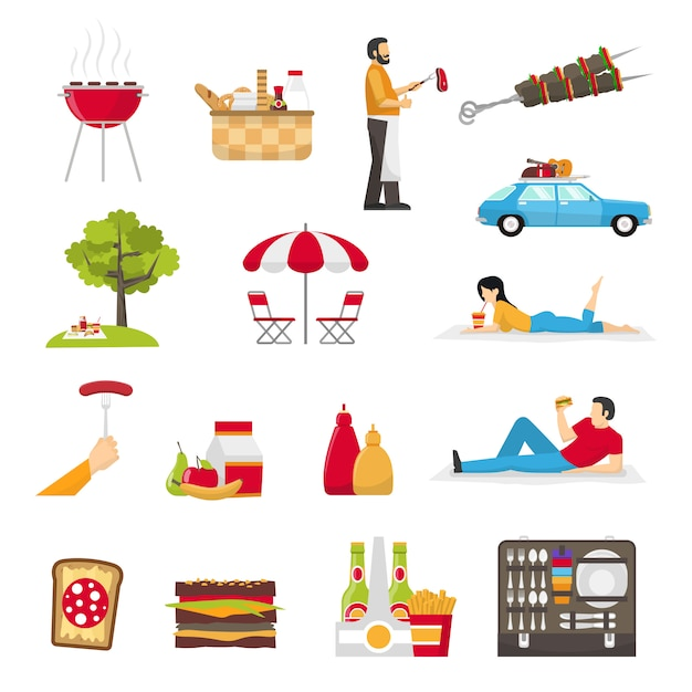 Picknick en barbecueset Gratis Vector