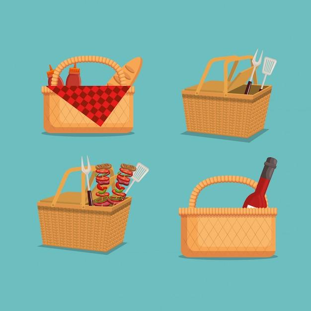 Picknick feest uitnodiging set pictogrammen Gratis Vector