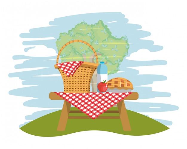 Picknick op park Premium Vector