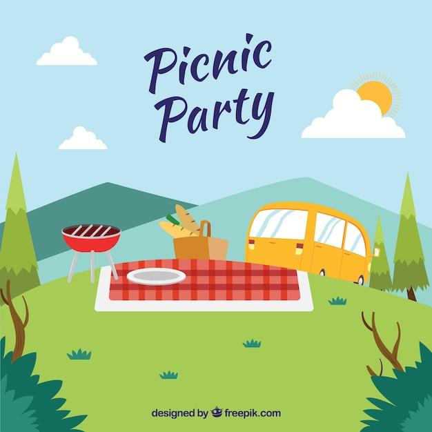 Picknick scène met een caravan Gratis Vector