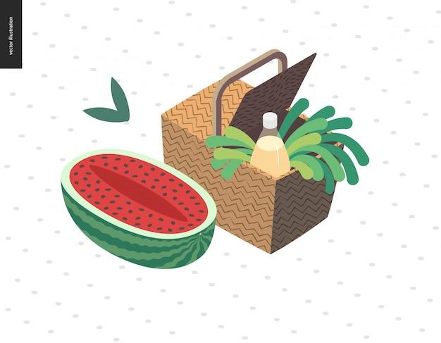 Picknickbeeld - vlakke beeldverhaal vectorillustratie van picknick rieten mand met limonadefles Premium Vector