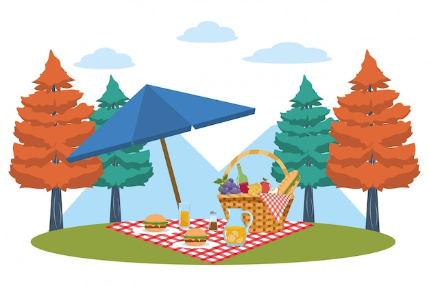 Picknickmand in bos Premium Vector