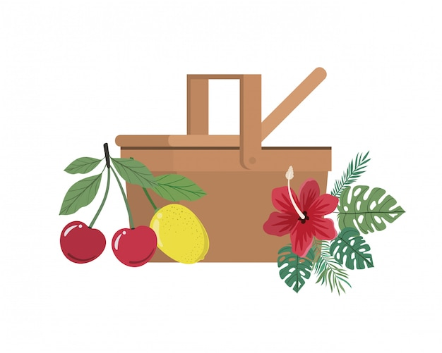 Picknickmand met tropisch fruit op wit Gratis Vector