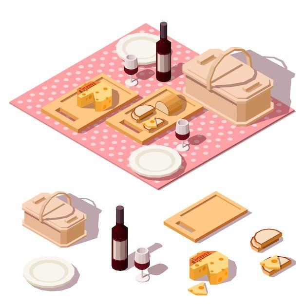 Picknickvoedsel met mand, flessenwijn, kaas, brood en doek Premium Vector