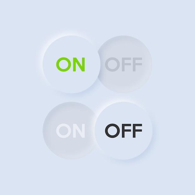 Pictogram aan en uit schakelaar knop. neumorfisme ui en ux-ontwerp. Premium Vector
