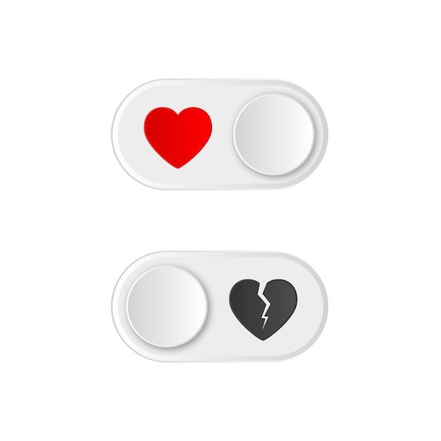 Pictogram aan en uit tuimelschakelaar knop met rood hart en gebroken. Premium Vector