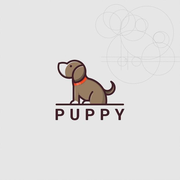 Pictogram logo puppy hondje met gouden ratio stijl Premium Vector