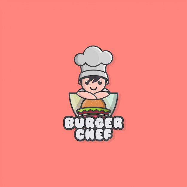 Pictogram logo van kleine chef-kok en hamburger Premium Vector