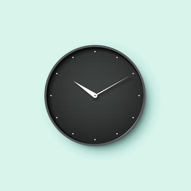 Pictogram van zwarte wijzerplaat met schaduw op mint muur achtergrond Premium Vector