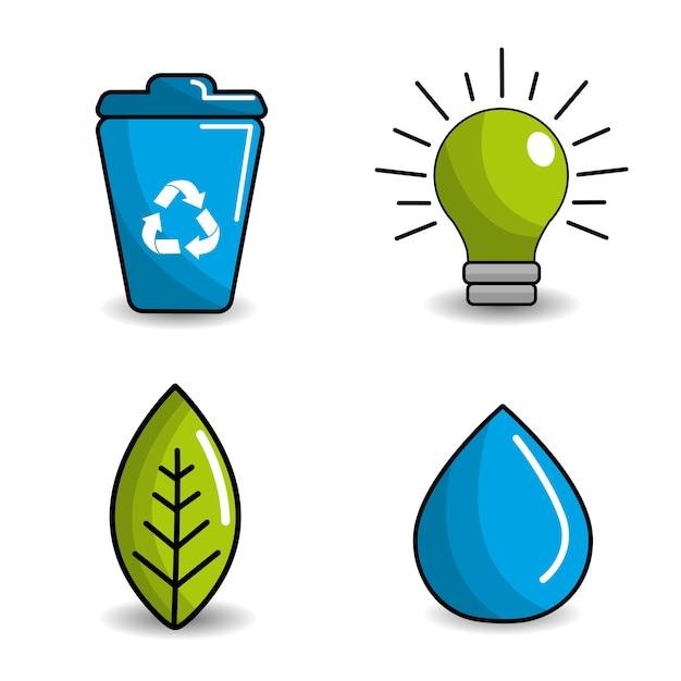 Pictogram verkleinen, hergebruiken en recyclen Premium Vector