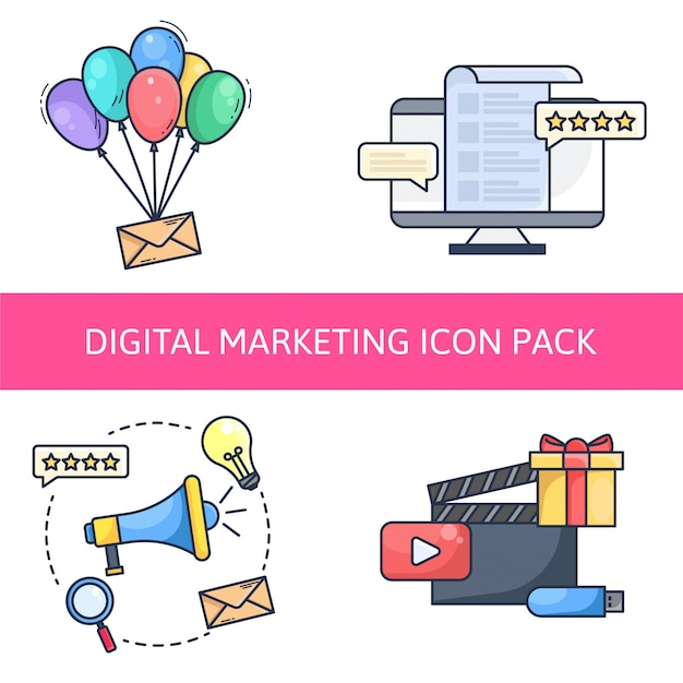 Pictogram voor digitale marketingpictogrammen Premium Vector
