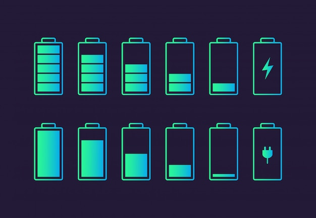 Pictogram voor het opladen van de batterij. Premium Vector