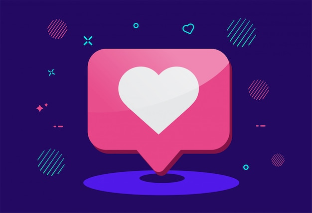 Pictogram voor meldingen van sociale media. zoals pictogram. Premium Vector