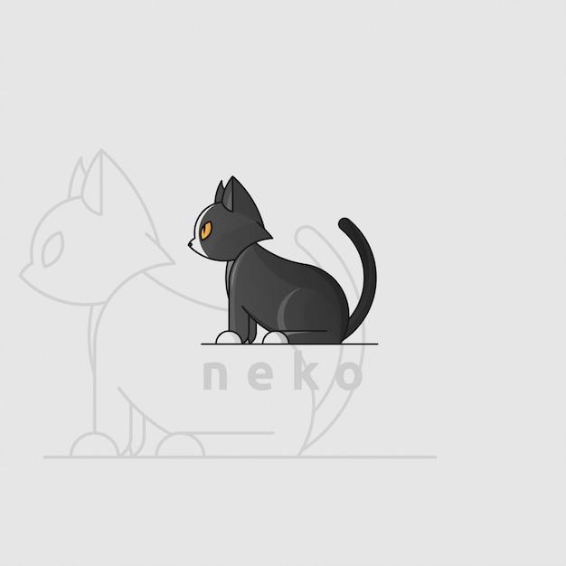 Pictogramlogo van zwarte kat met gulden snede Premium Vector