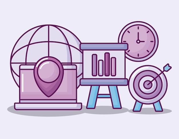 Pictogrammen bedrijfsfinanciën instellen Gratis Vector