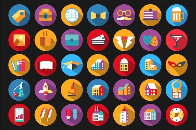 Pictogrammen in een vlakke stijl op het thema van het onderwijs Premium Vector