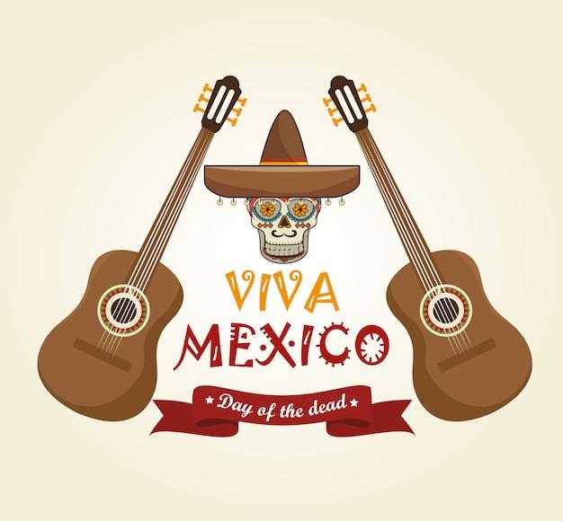 Pictogrammen muziek schedel mexico ontwerp Premium Vector