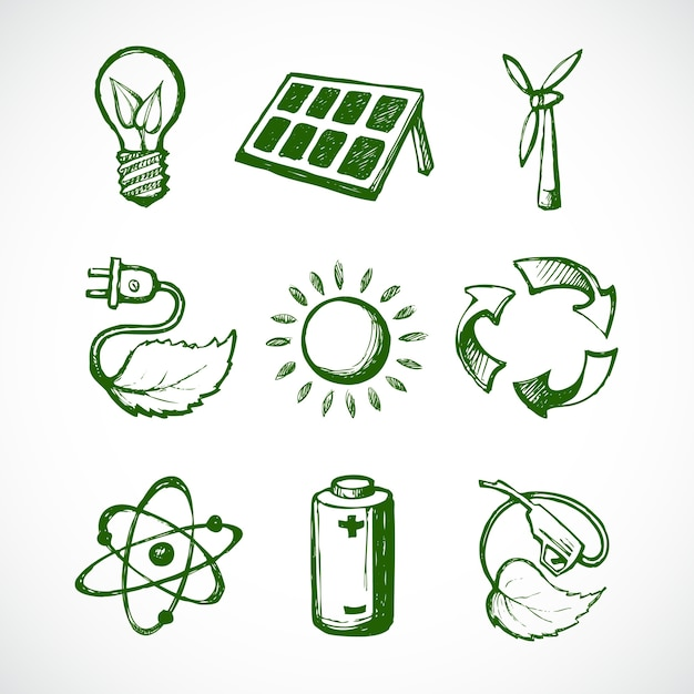 Pictogrammen over ecologie, getrokken hand Gratis Vector