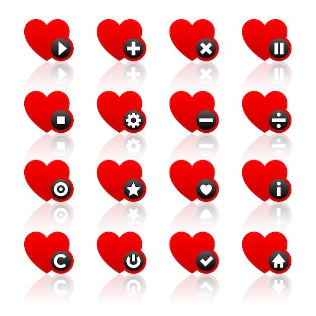 Pictogrammen set rode harten en zwarte knoppen Premium Vector