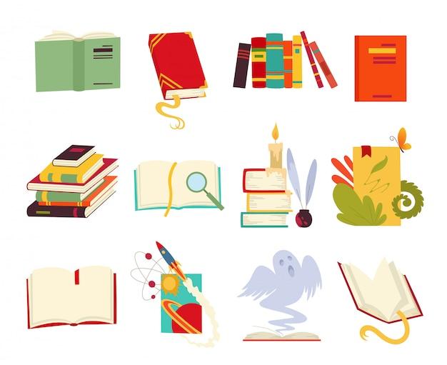 Pictogrammen van boeken decorontwerpstijl met draak, vogelveren, kaars, bladwijzer en lint. Premium Vector