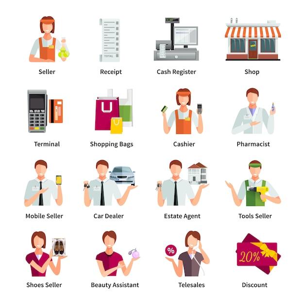 Pictogrammen van de verkopers de vlakke die kleuren met apotheker de agent mobiele verkoper geïsoleerde vectorillustratie van het autoverkoopbedrijf worden geplaatst Gratis Vector