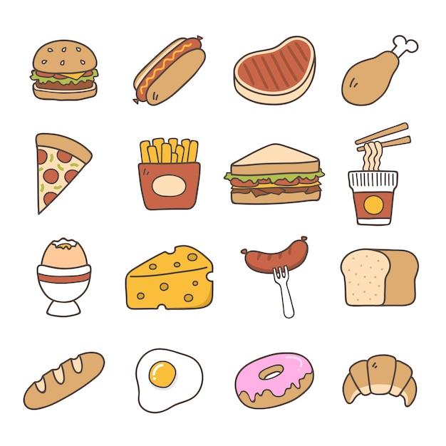 Pictogrammen van het voedsel collectie Gratis Vector