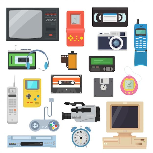 Pictogrammen van retro-gadgets uit de jaren 90 in een vlakke stijl Premium Vector