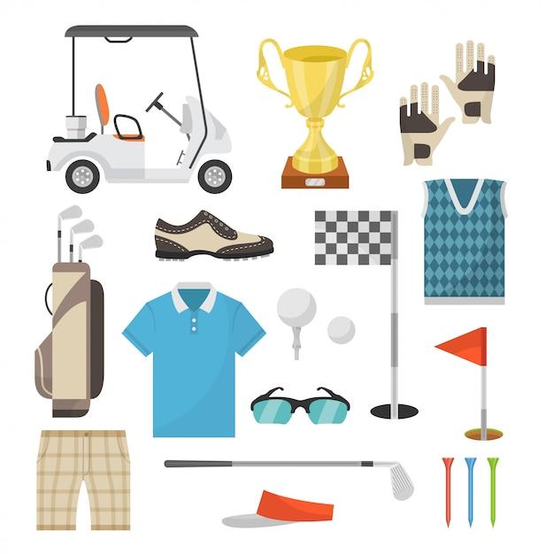 Pictogrammen van sportuitrusting voor het spelen van golf in een vlakke stijl Premium Vector