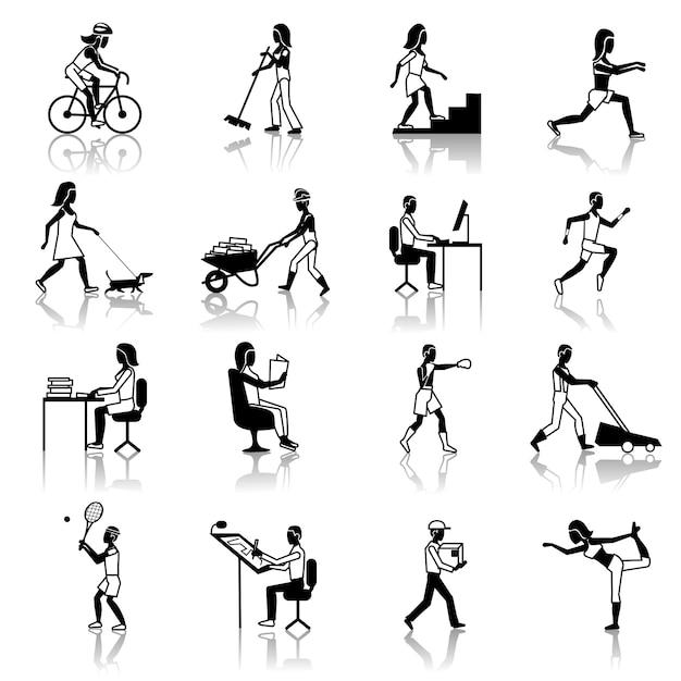 Pictogrammen voor fysieke activiteiten black Gratis Vector