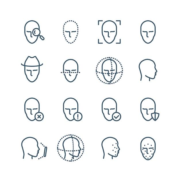 Pictogrammen voor gezichtsherkenningslijn. ziet de detectie van biometrie, scans in het gezicht en de vectorpictogrammen van het ontgrendelingsmechanisme tegemoet. gezichtsscan, gezicht biometrische identificatieillustratie Premium Vector