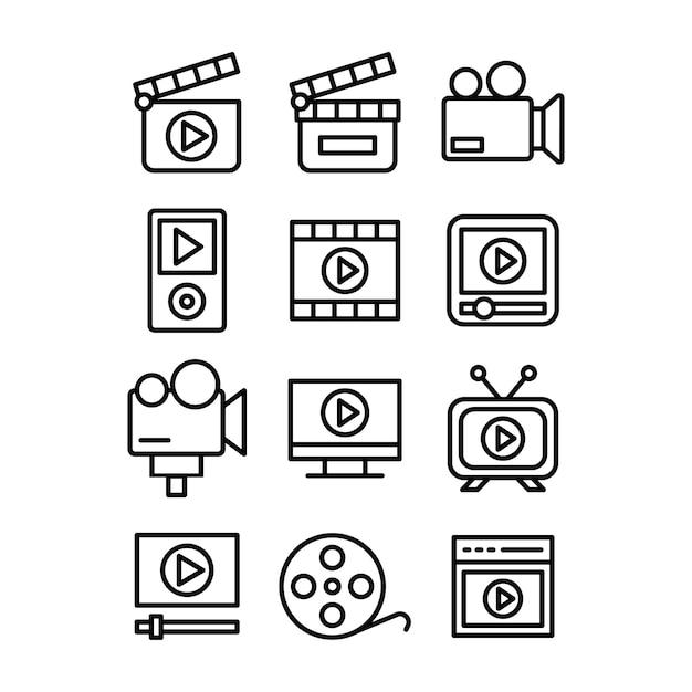 Pictogrammen voor het maken van video's Premium Vector