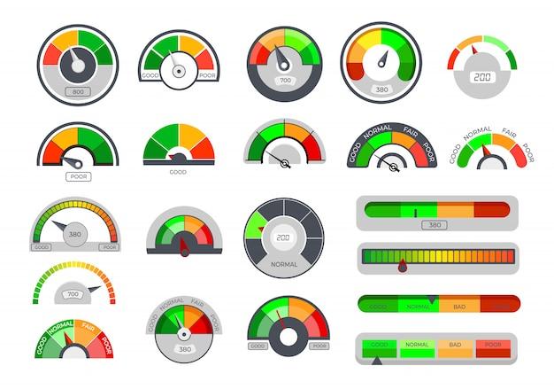 Pictogrammen voor kredietlimietmeters Gratis Vector