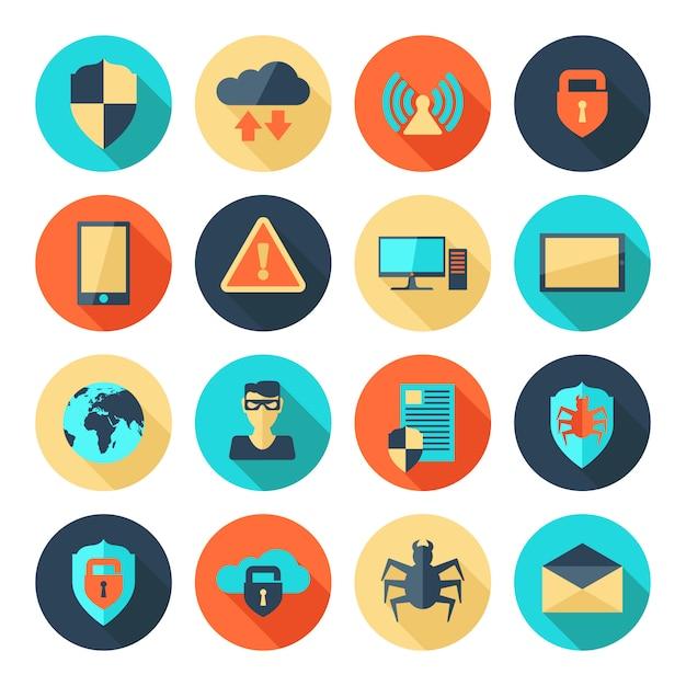 Pictogrammen voor netwerkbeveiliging Gratis Vector
