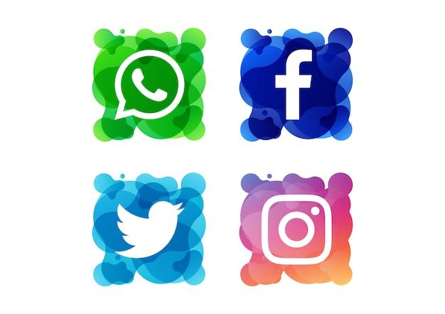 Pictogrammen voor sociale media Premium Vector