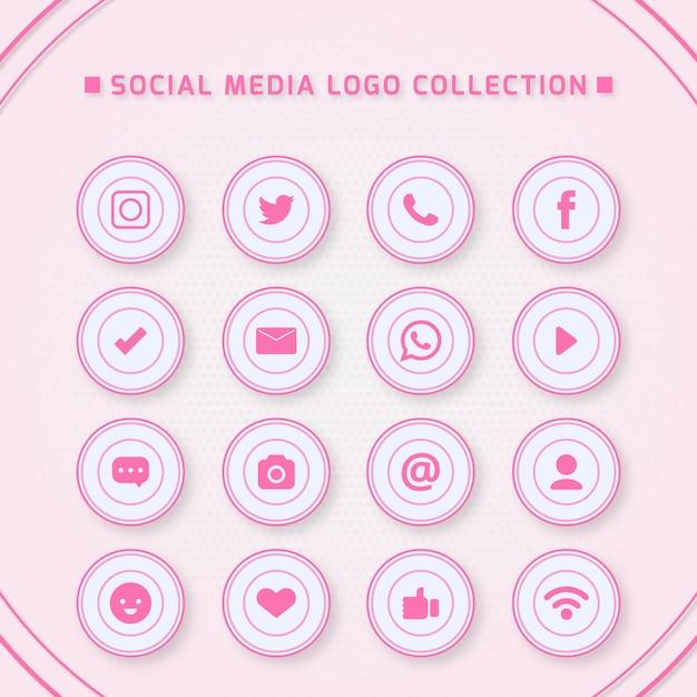 Pictogrammen voor sociale netwerken met roze kleuren Premium Vector