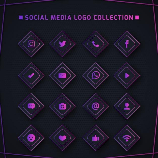Pictogrammen voor sociale netwerken Premium Vector