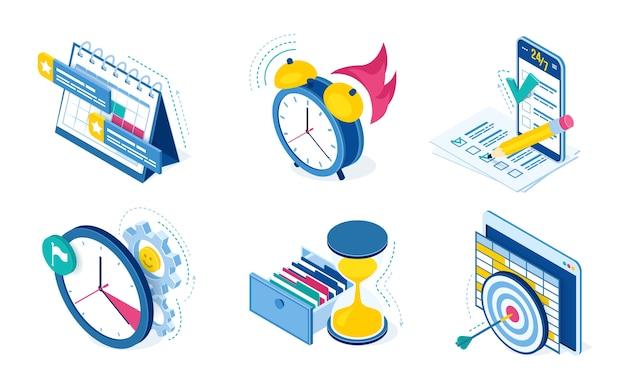 Pictogrammen voor taak- en tijdbeheer met klok, kalender, controlelijst en smartphone geïsoleerd op een witte achtergrond. isometrische symbolen van planning van productiviteitswerk en projectorganisatie Gratis Vector