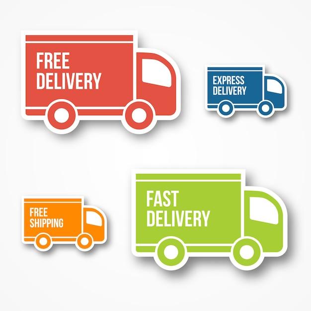 Pictogrammen voor verzending en gratis levering, gratis verzending, 24-uurs en snelle levering Gratis Vector