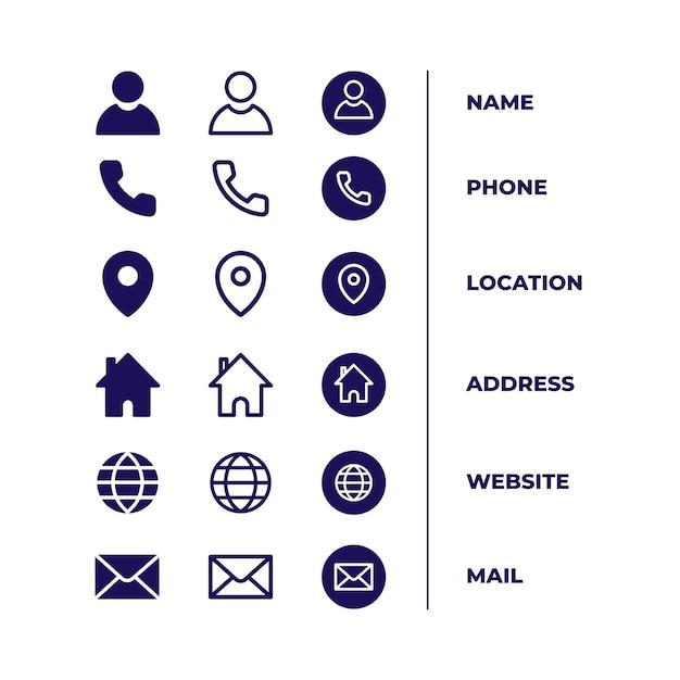 Pictogrammenpakket voor visitekaartje Gratis Vector