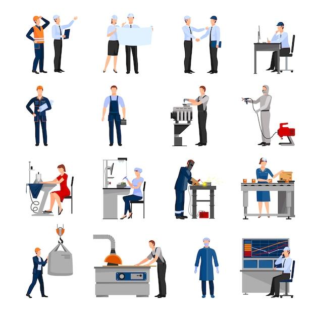Pictogrammenreeks van getrokken in vlakke stijl verschillende fabrieksarbeiders Gratis Vector