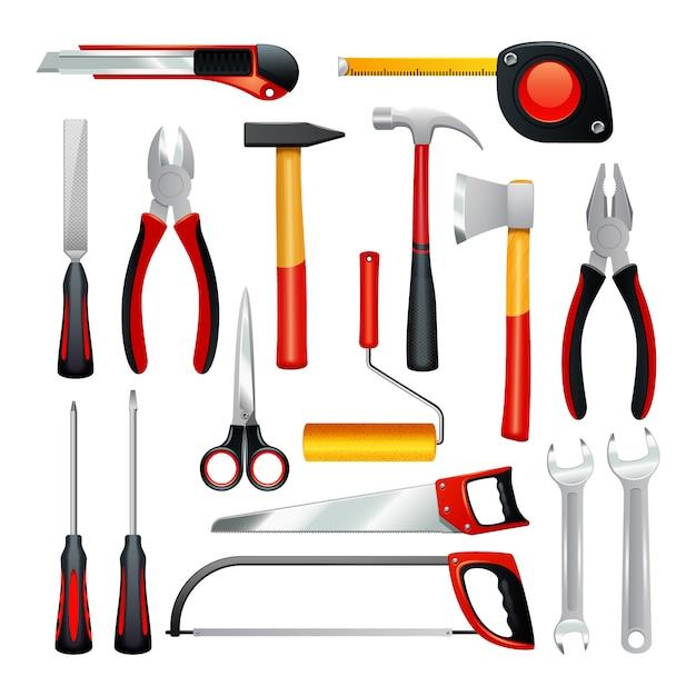 Pictogrammenreeks verschillende eenvoudige hulpmiddelen voor huishoudelijk werk en niet professionele reparatie Gratis Vector